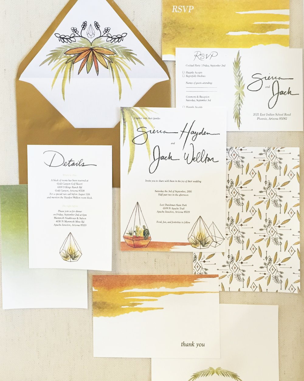 Desert Wedding Suite_Succulent wedding stationery_arizona artist_copyright paige poppe