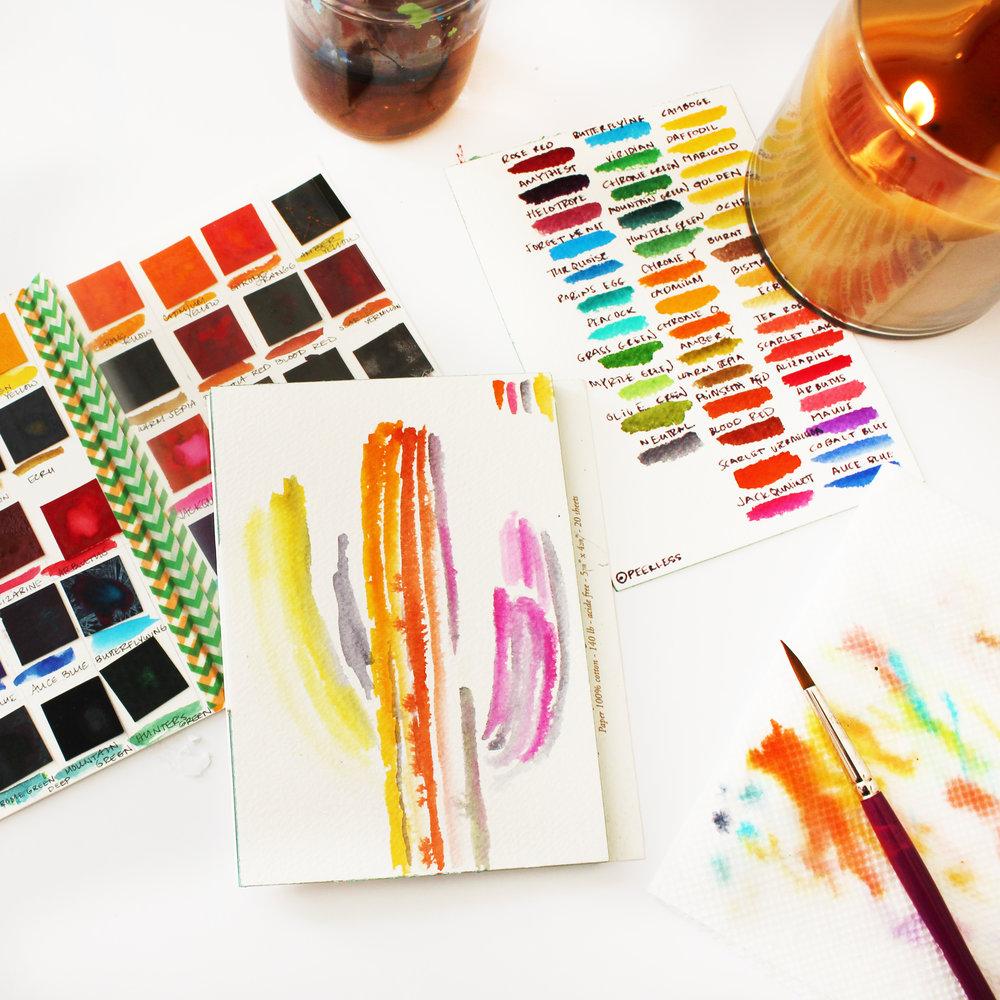 """""""Technicolor Saguaro"""" watercolor on paper, March 2015"""