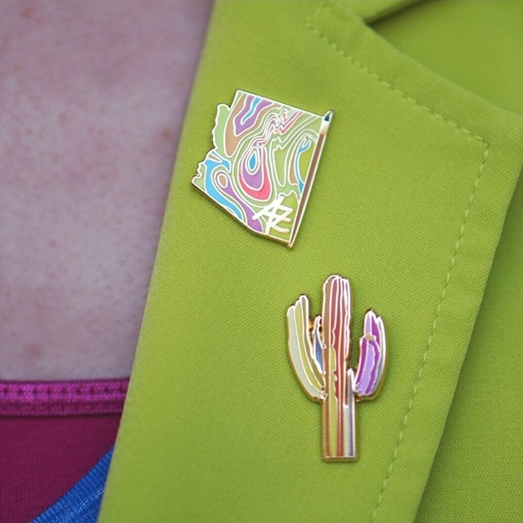 """Painting Arizona"" + ""Technicolor Saguaro"" Pins - @poshlula44"