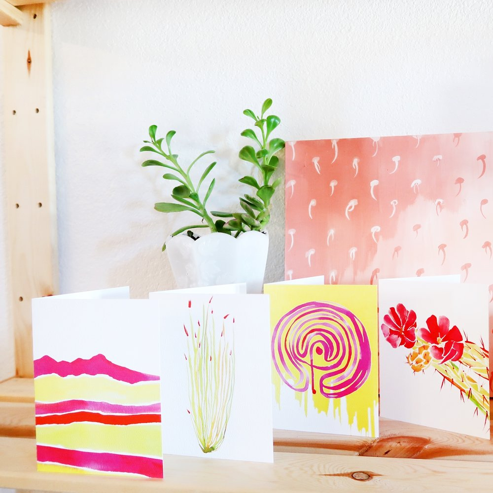 Greeting card designs for  Miraval Resort  Set of 5 Cards inspired by the property + sold in their on-site resort shop