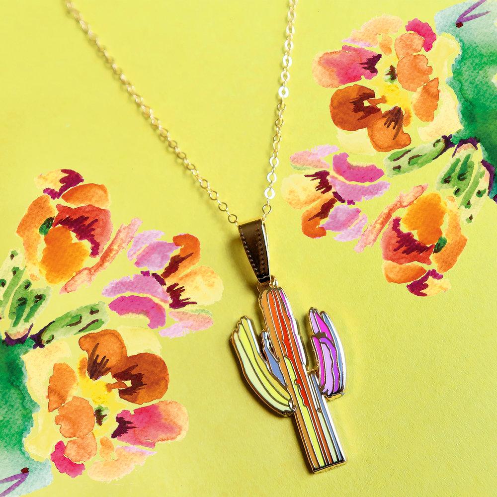 Saguaro cactus jewelry_cactus necklace_rainbow cactus_paige poppe art_arizona artist_desert art