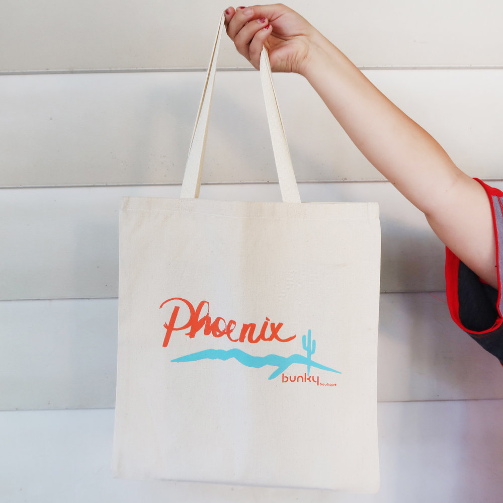 Bunky Boutique   Hand lettered tote designed for downtown + Sky Harbor Airport retail locations