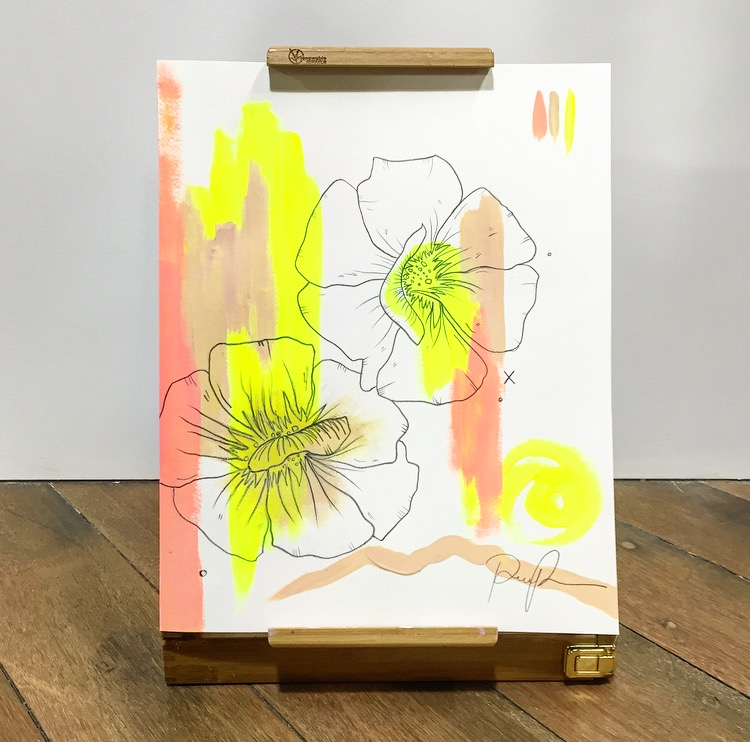 """Sun Smolder"" acrylic and pencil illustration"