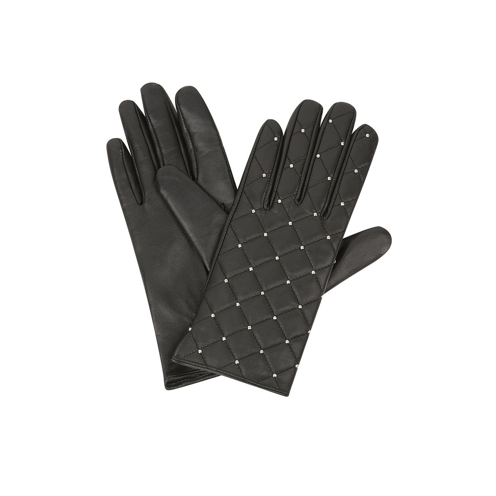 Sandro ALDORA Quilted Black Leather Gloves