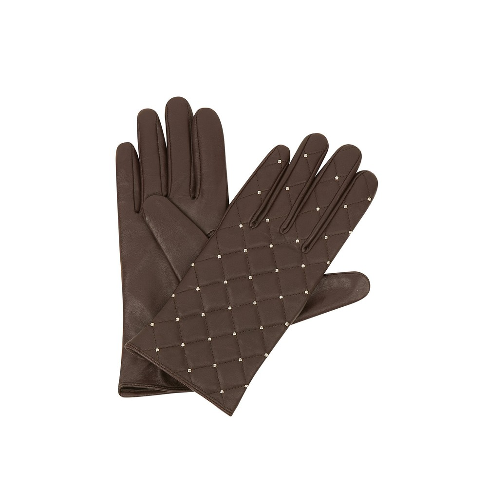 Sandro ALDORA Quilted Burgundy Leather Gloves