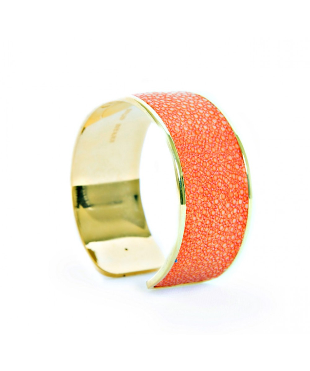 Large Solo Bracelet in Orange Stingray