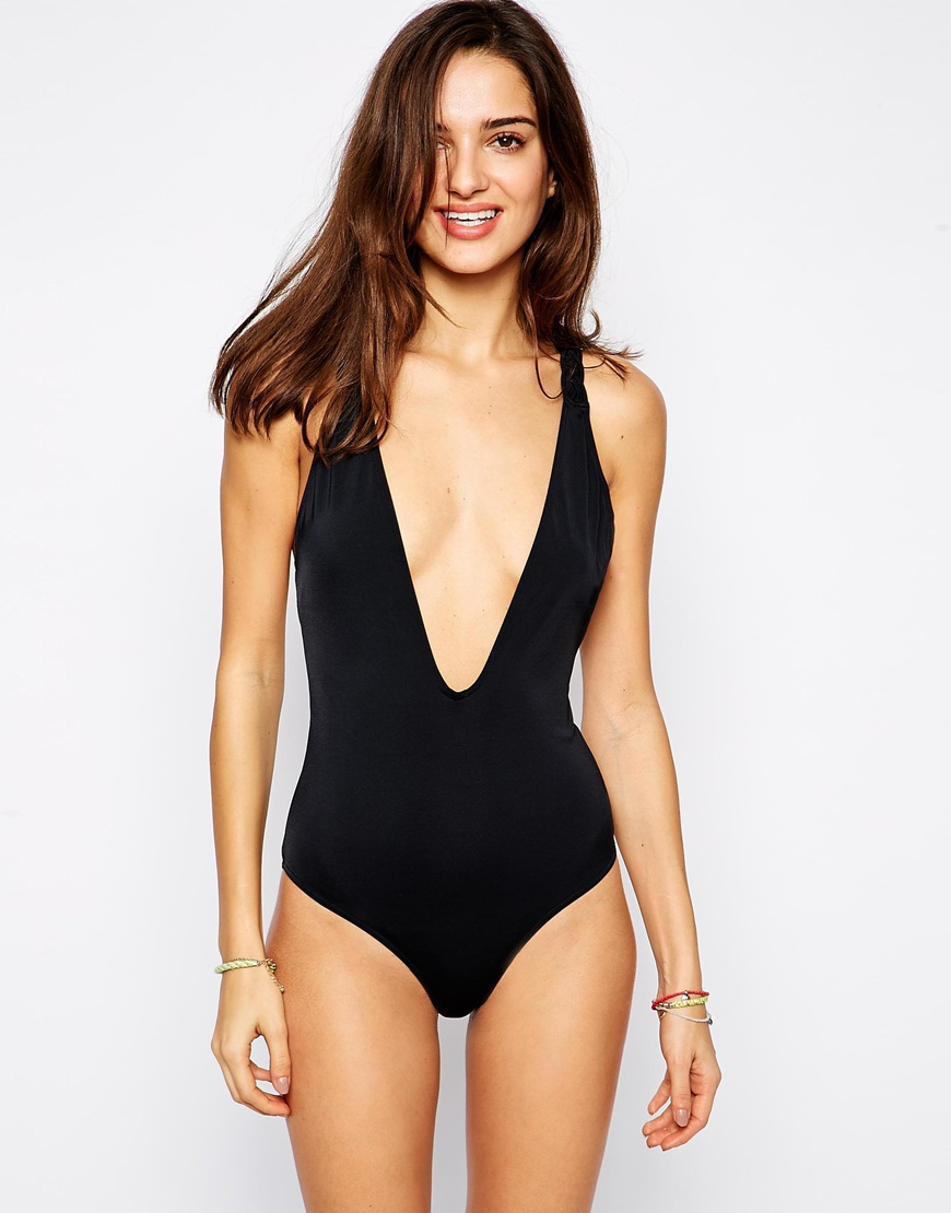 ASOS TALL Plait Back Plunge Swimsuit