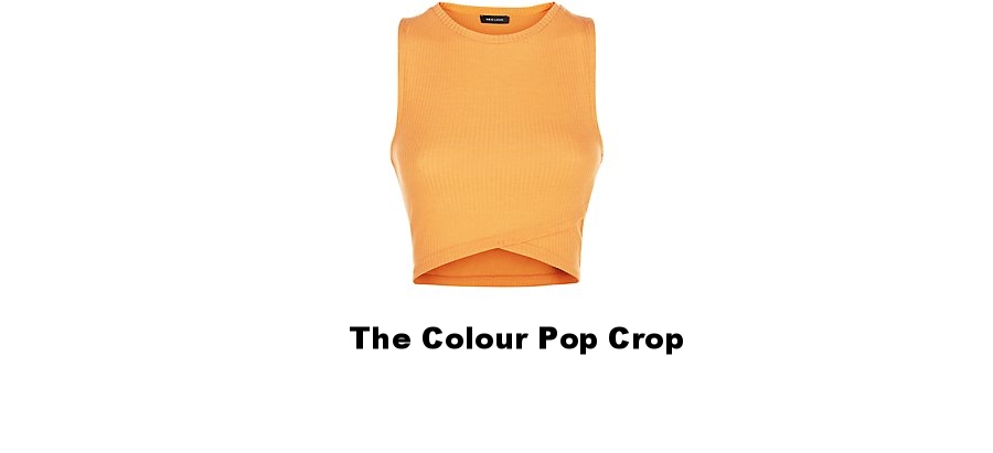New Look Bright Orange Ribbed Wrap Crop Top