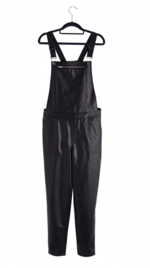 Faux Leather Dungarees