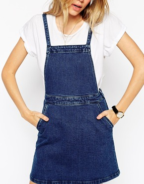 ASOS Denim Aline Pinafore Dress