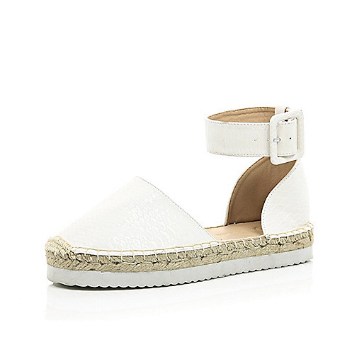 White Chunky Ankle Espadrilles