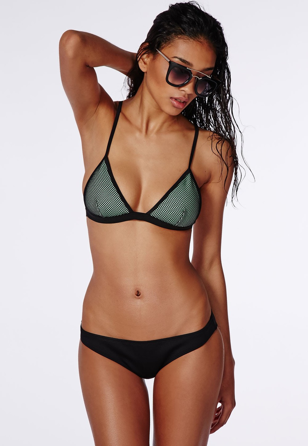 Mesh Triangle Bikini Set - Green