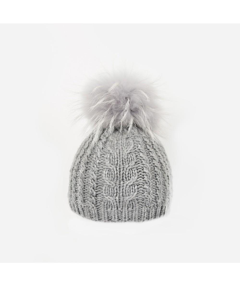 DiCarlo Grey Merino Wool Raccoon Fur Beanie Hat
