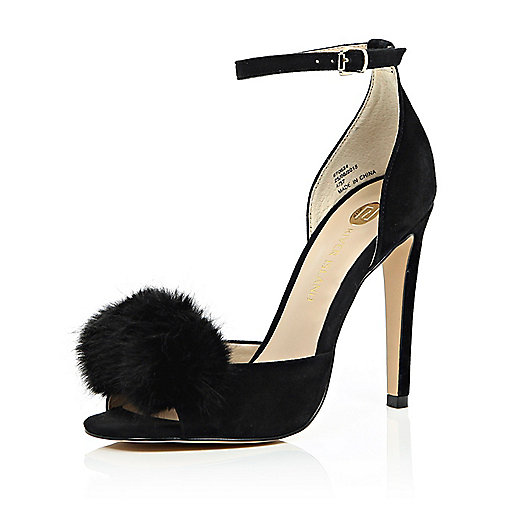 River Island Black Heeled Pom Pom Sandals