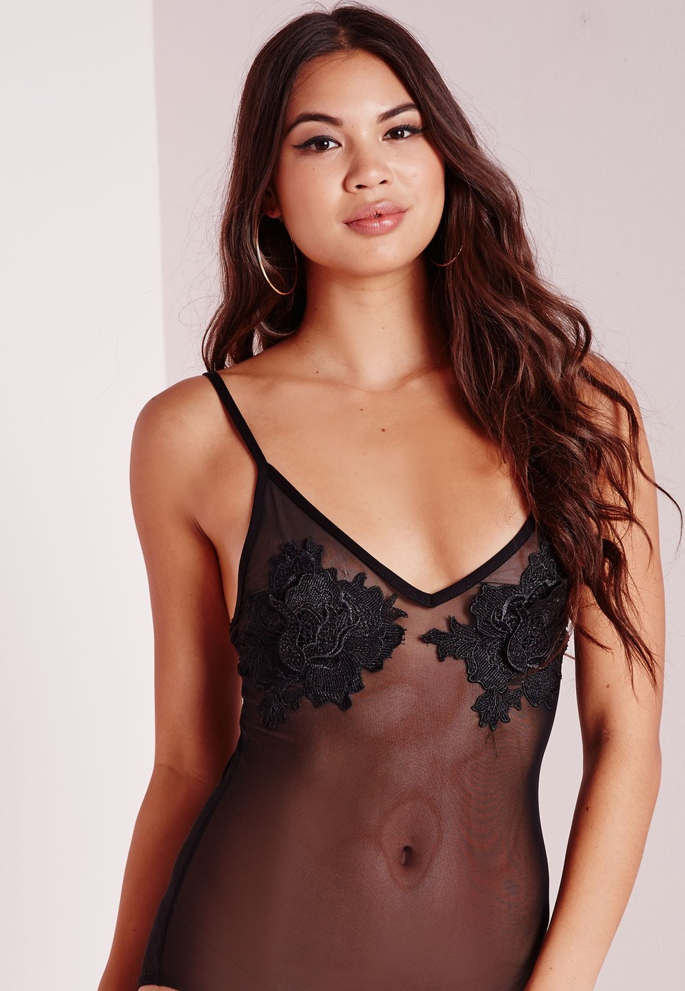 Rose Applique Mesh Body Suit Black