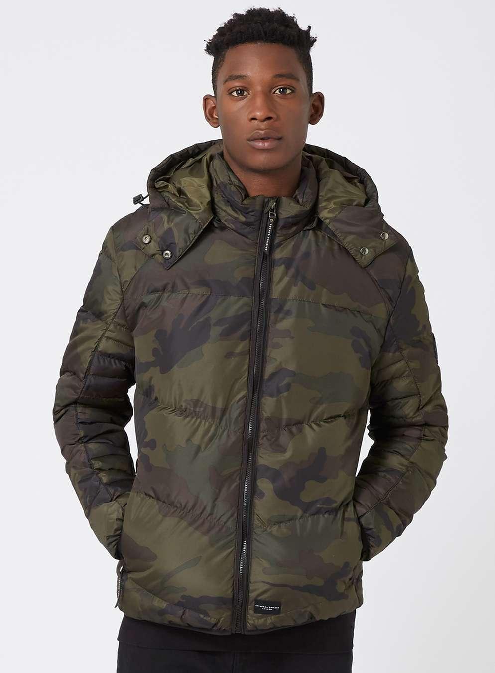Topman - Criminal Damage Camo Puffer Jacket
