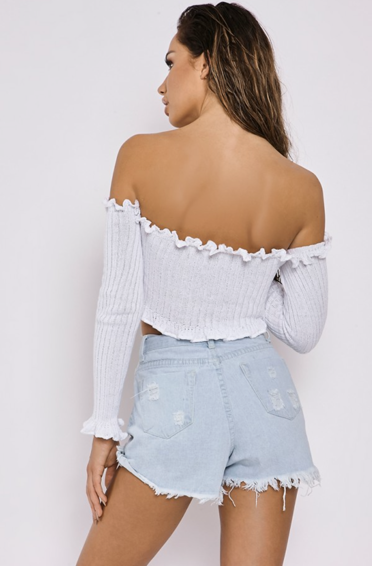Ribbed Ruffle Long Sleeve Bardot Crop Top