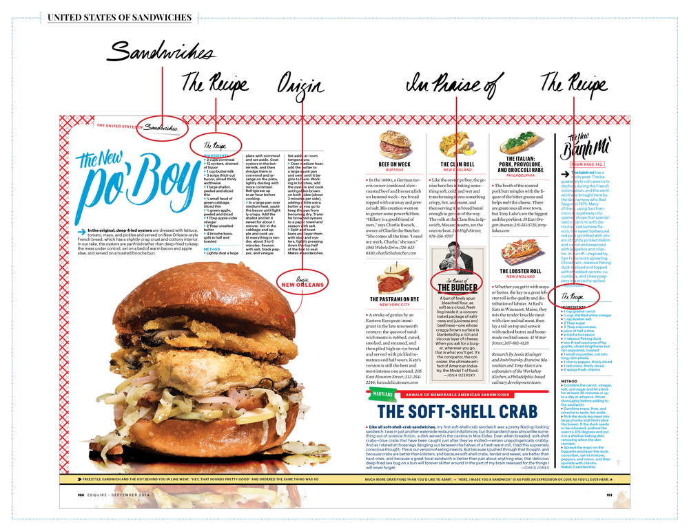 The September Issue of Esquire had a feature called The United States of Sandwiches and I was asked to create brush lettered spot illustrations for different sections of that feature.