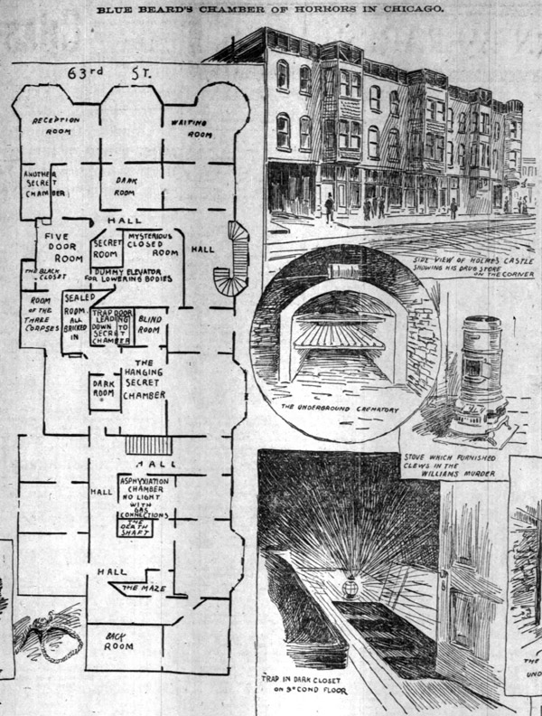 Floor plans of HH Holmes' murder castle