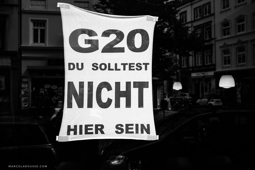 "This motivated many shop owners to show their protest against the G20 in Hamburg: ""G20 you should not be here"""