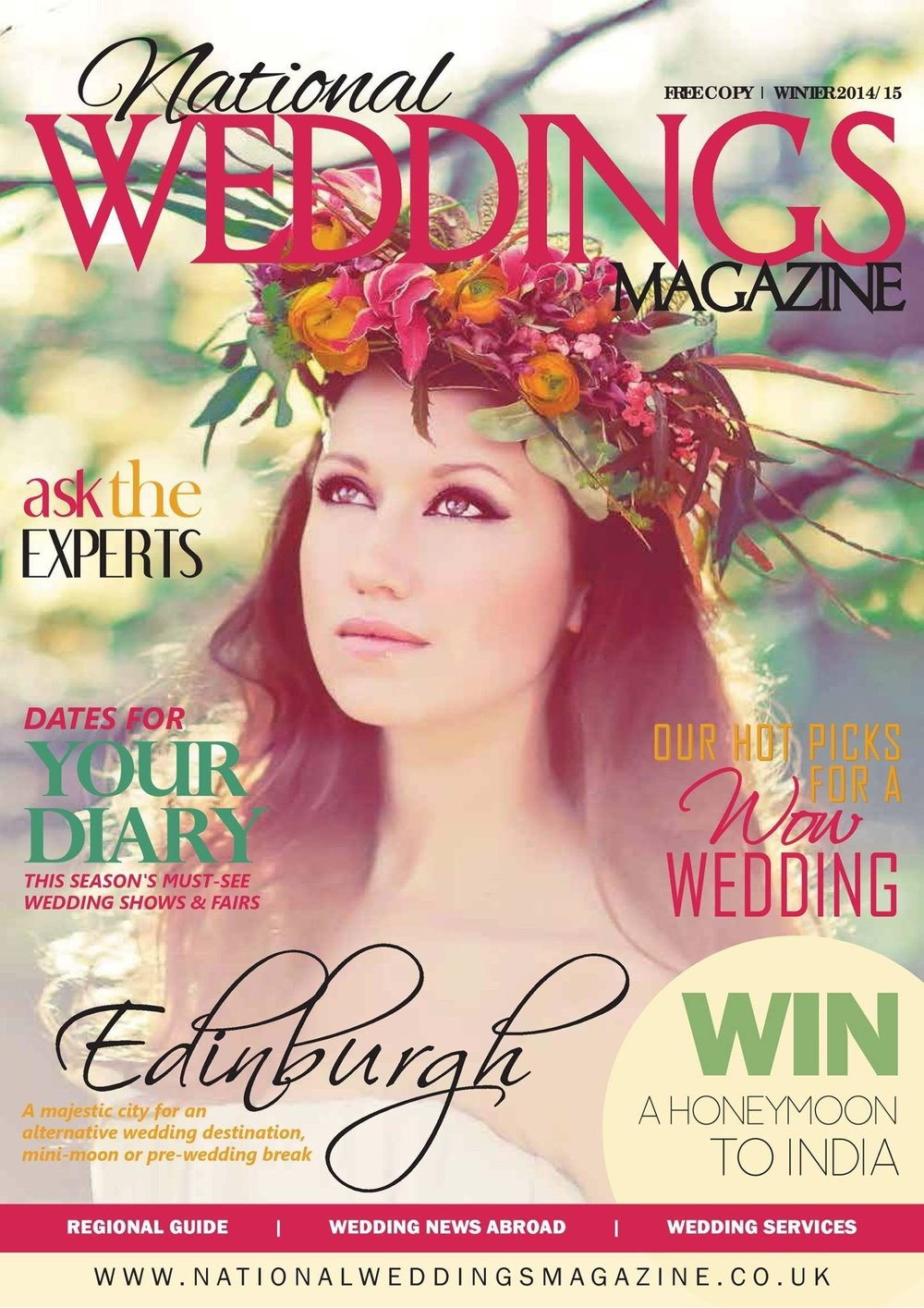 Charlotte Munro's Bridal Styling on the cover of National Weddings Magazine. Image by Sanshine Photography