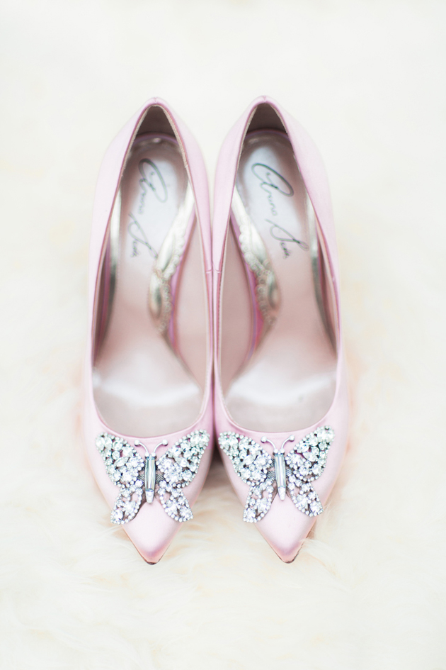 Blush Pink Bride wearing Aruna Seth shoes