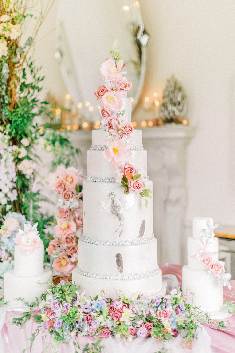 For an ultimately magical cake this 7 tiered beauty featuring a unicorn is the way to go. Cake by Elizabeth's Cake Emporium. Image by Sanshine Photography