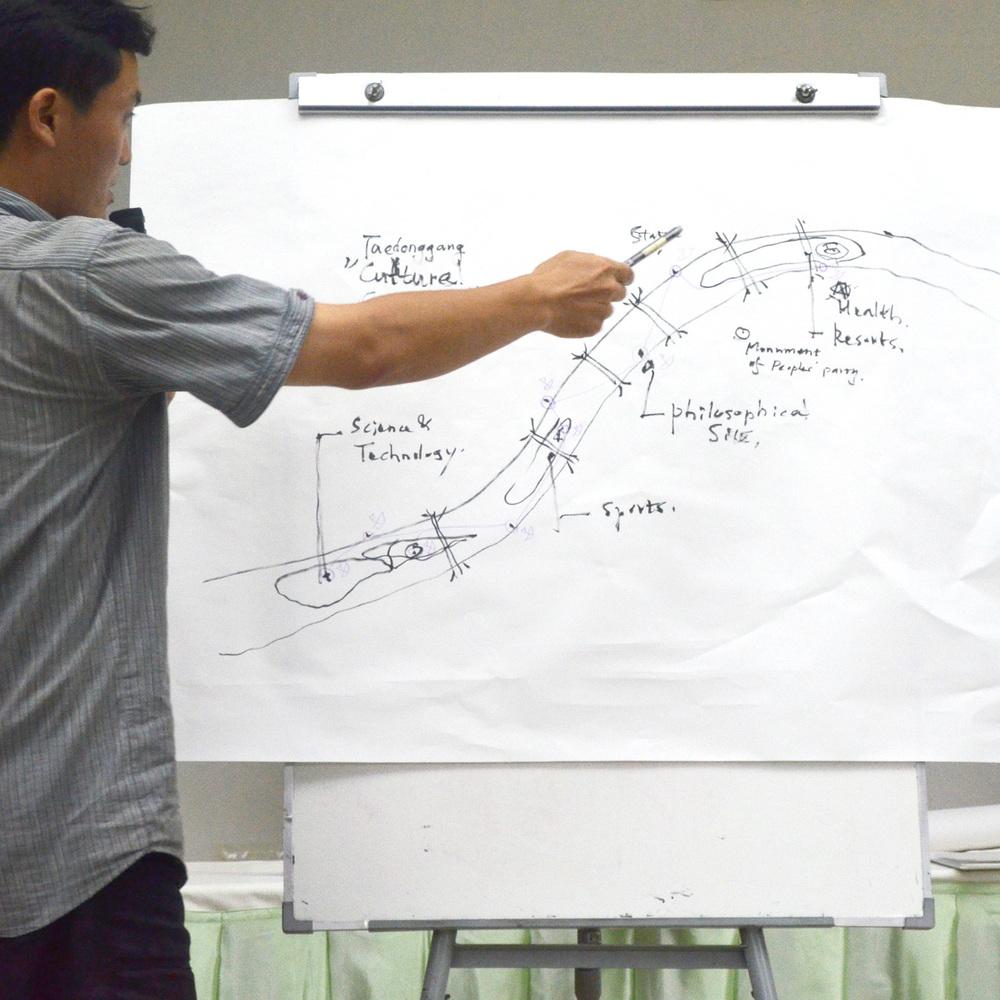 참가자중 한 명이 수업 중에 태동강을 따라 문화 거리를 만들자고 제안하고 있다.