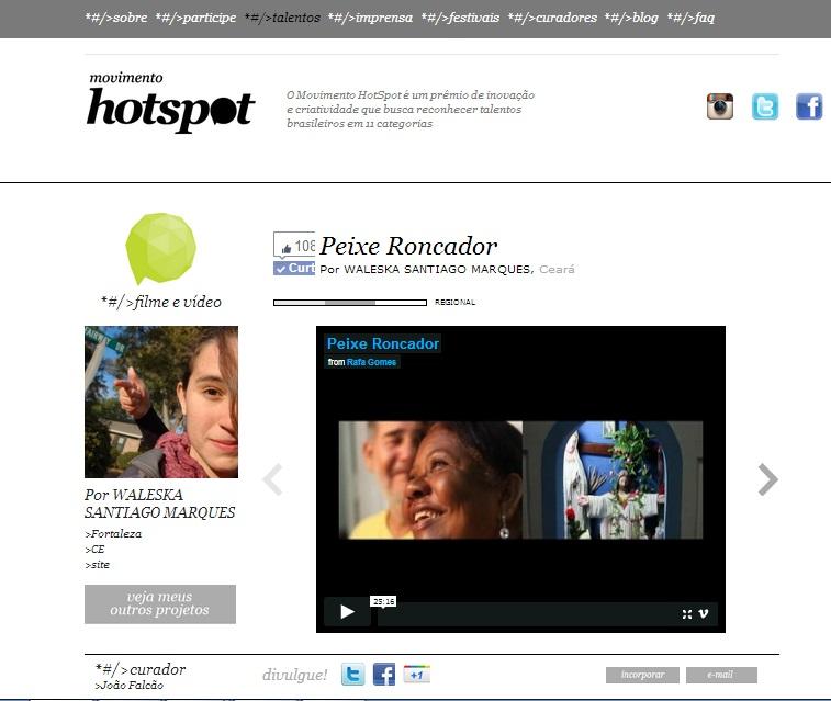 """Participação do Festival Nacional """"Movimento Hotspot"""" – Categoria: filme/ documentário com o vídeo  """"Peixe Roncador"""""""