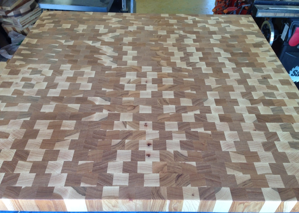 End grain Hickory Butcher block ready for finish