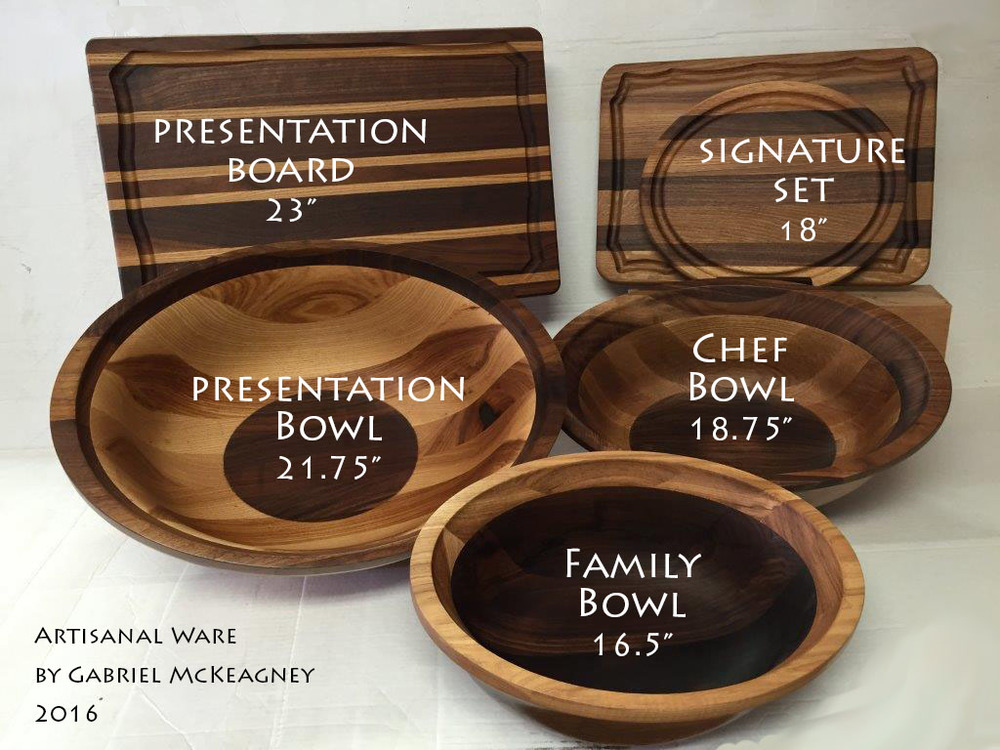 Gabriel's Artisanal Ware collection of boards & oval bowls comes in several sizes.