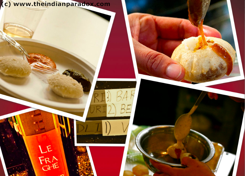 TOP LEFT: Plate of Idlis with Chutneys with a glass of Viognier --- TOP RIGHT: In the middle of assembling a Dahi Puri   BOTTOM LEFT: A bottle of Bardolino CENTER: Postcard of the food and wine names --- BOTTOM RIGHT: FInal step in Dahi Puri assembly; topping off with a generous pour of yogurt mix.