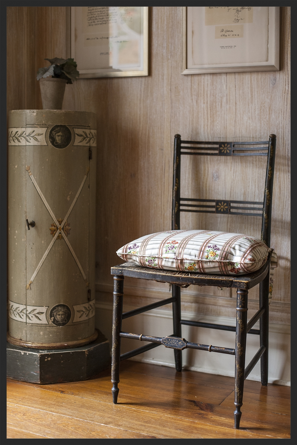 Painted neoclassical column. Black Regency chair.  Walls painted by Richard Martin.  Linda Kay McCloy - alittleenglishinteriors.com