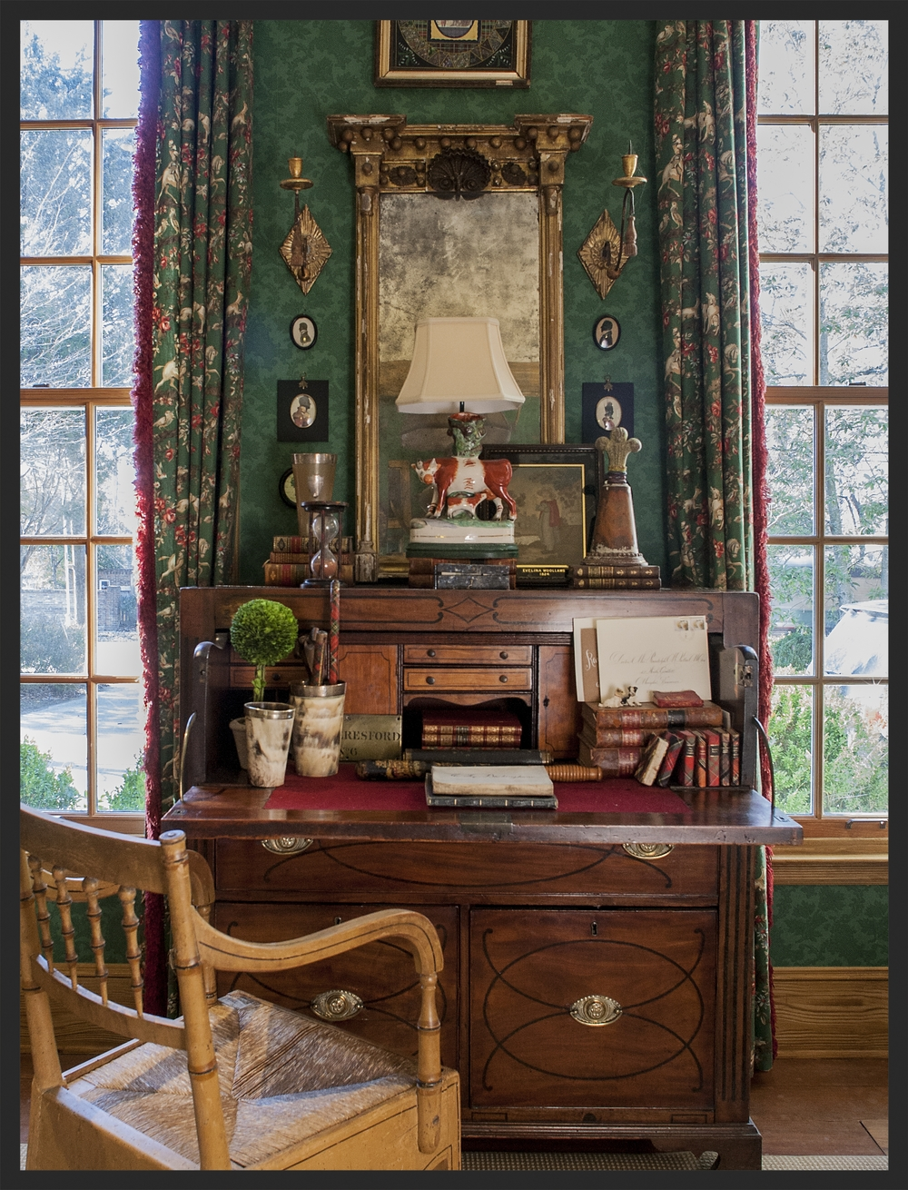 Mahogany secretary, painted Regency chair, Federal mirror.  Linda Kay McCloy - alittleenglishinteriors.com