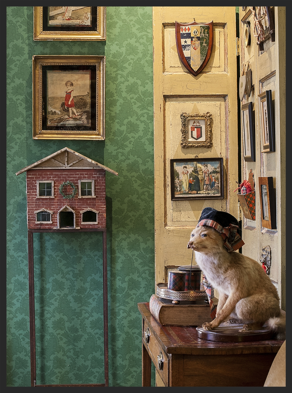 Framed silk needlework, little house on stand, mounted fox.  Linda Kay McCloy - alittleenglishinteriors.com