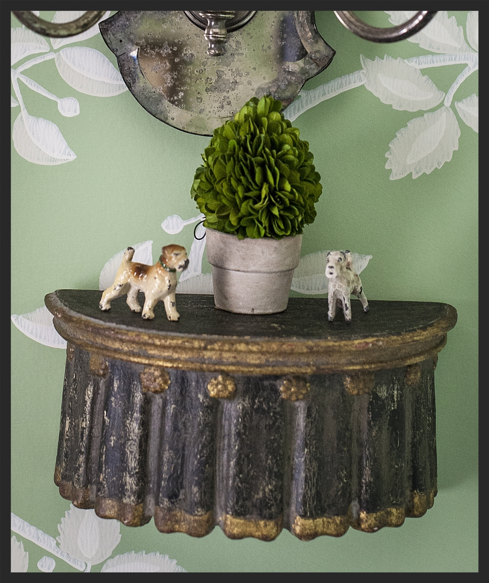 Small bracket with little toy dogs.  Linda Kay McCloy - alittleenglishinteriors.com