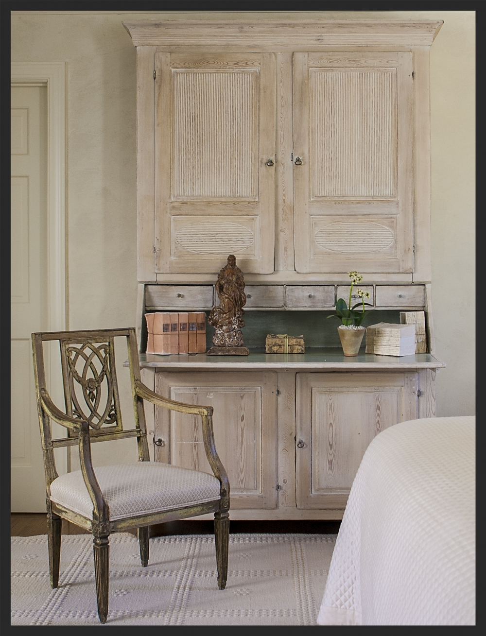 Painted Swedish secretaire.  Linda Kay McCloy - alittleenglishinteriors.com