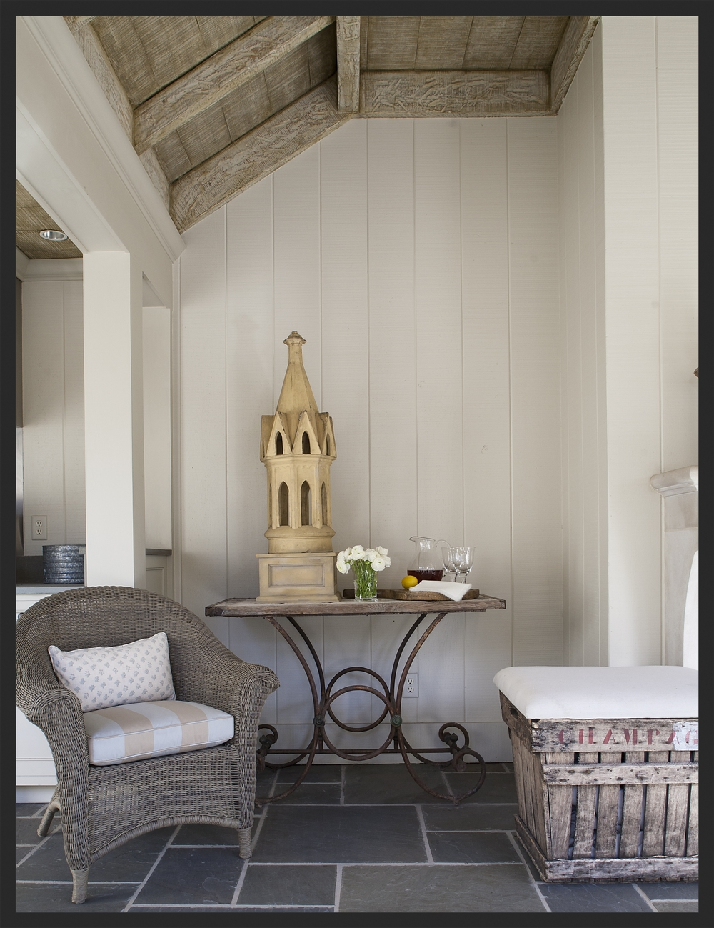 Beautiful painted ceiling by Richard Martin.  Terra cotta chimney pot on French iron table.  Champagne crate.  Linda Kay McCloy - alittleenglishinteriors.com