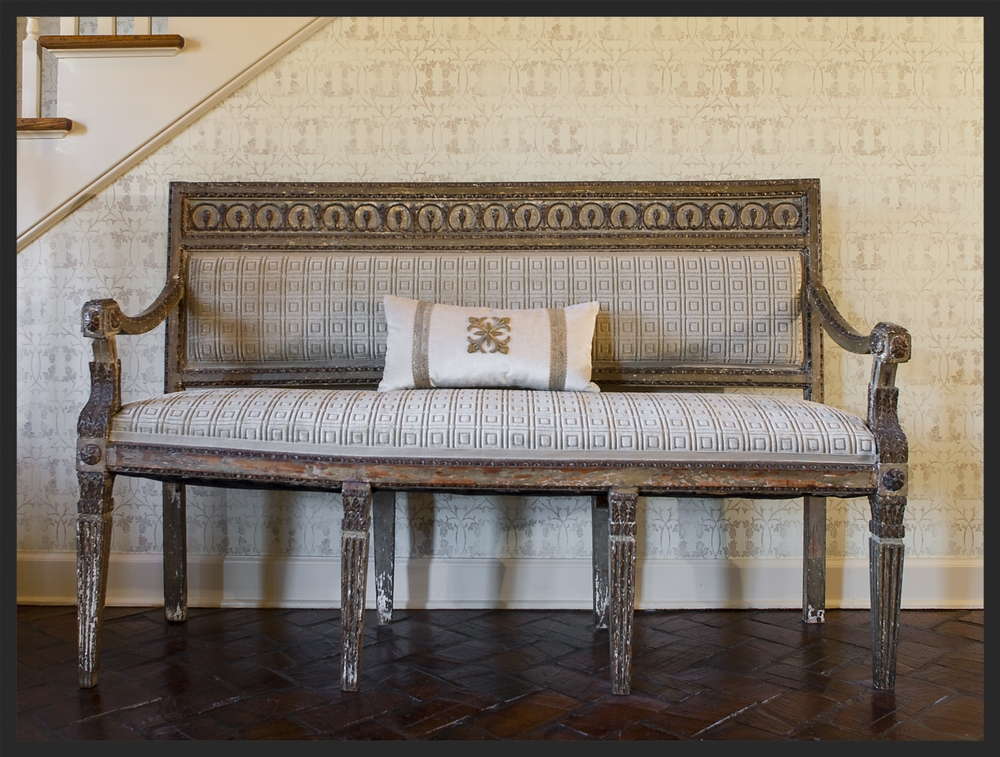 Beautiful painted antique bench.  Linda Kay McCloy - alittleenglishinteriors.com