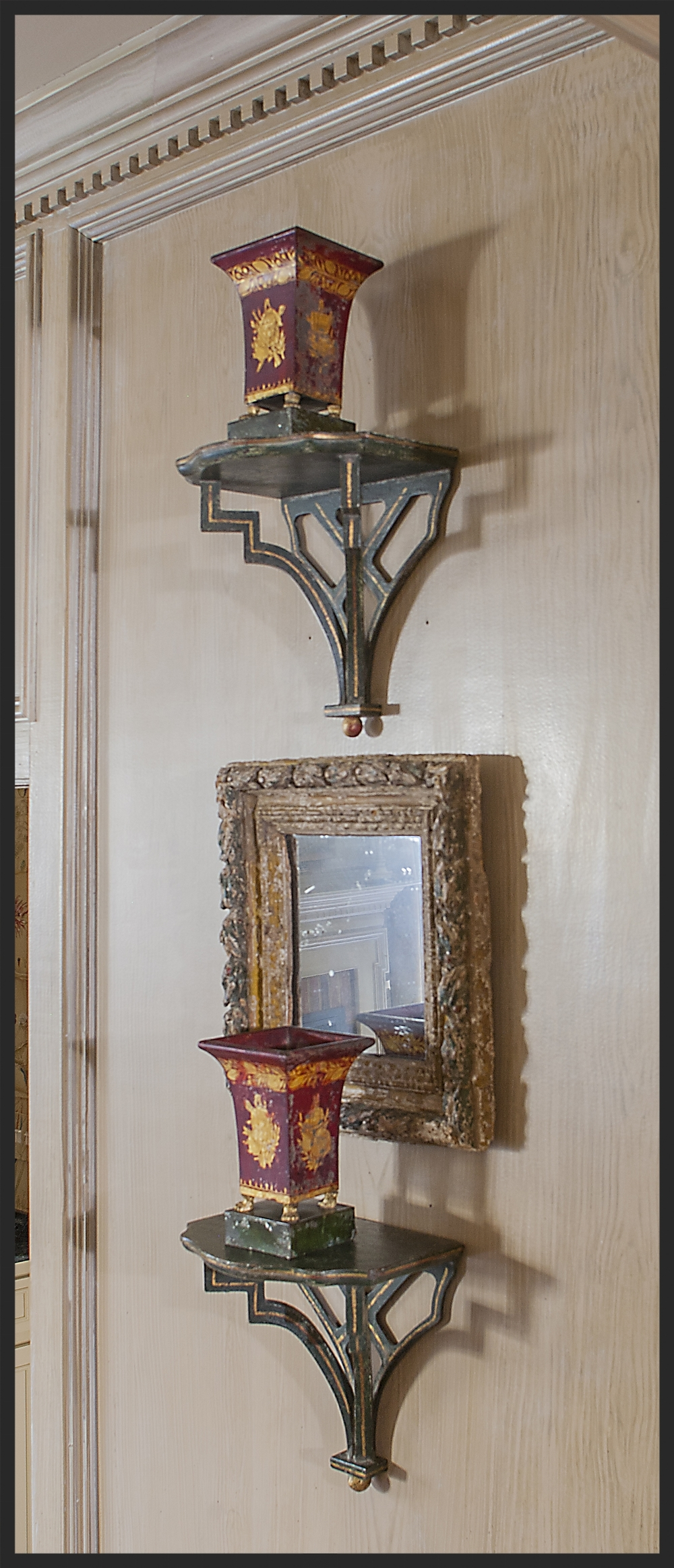 Pair of antique tole cache pots on Richard Martin painted brackets.  Linda Kay McCloy - alittleenglishinteriors.com
