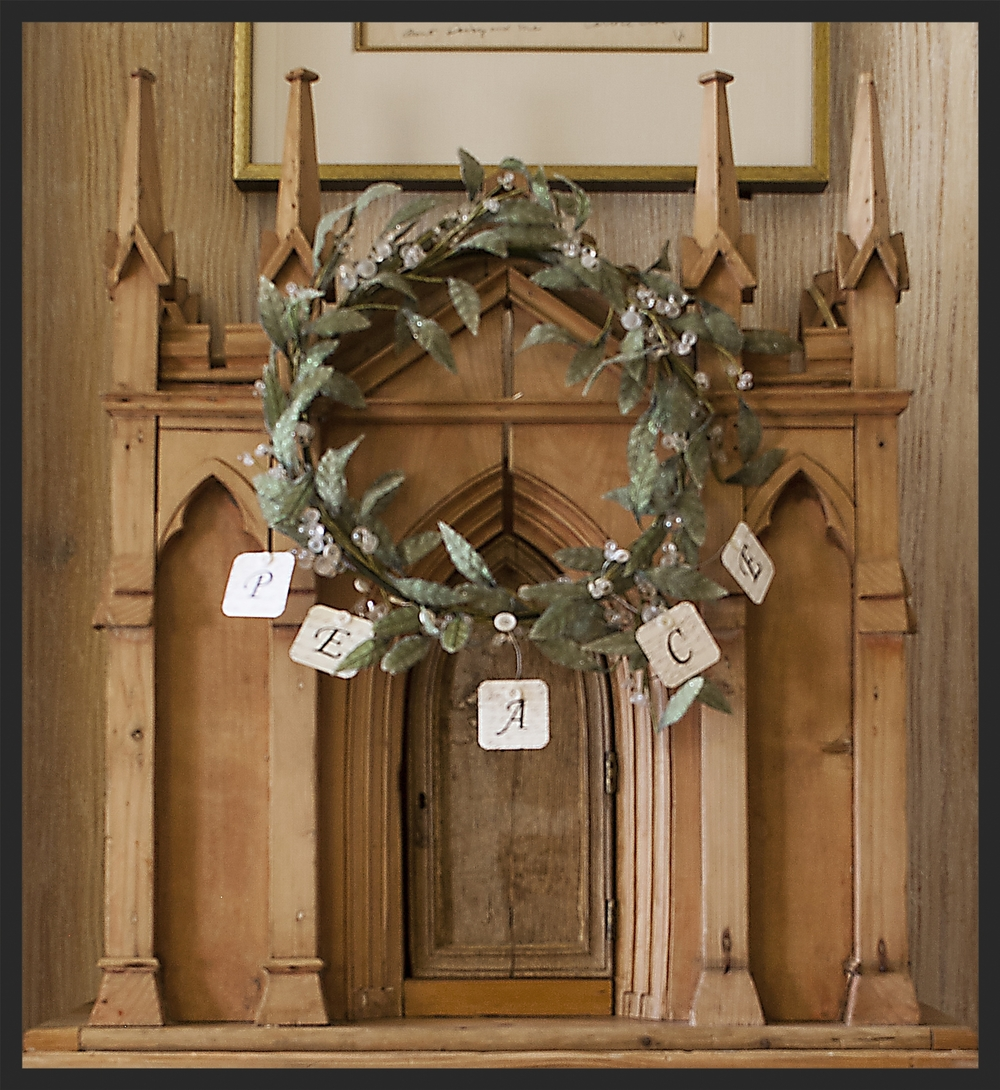 Christmas wreath on pine Irish wine keep.  Linda Kay McCloy - alittleenglishinteriors.com