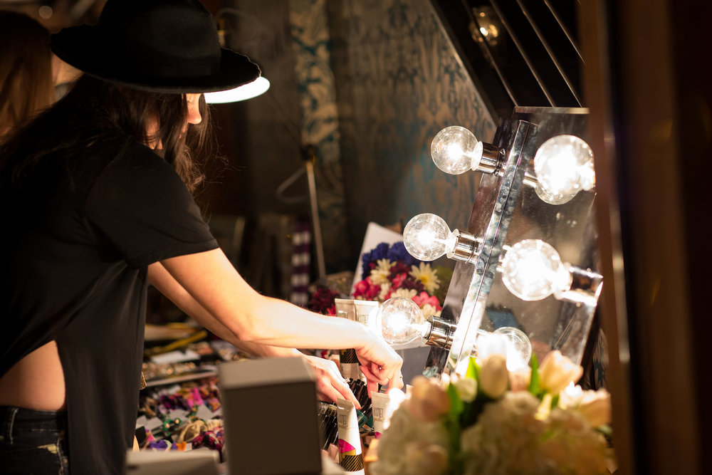 kismet setup. Her hollywood mirror is so fantastic!PHOTO byTAYLOR GONSOULIN PHOTOGRAPHY.