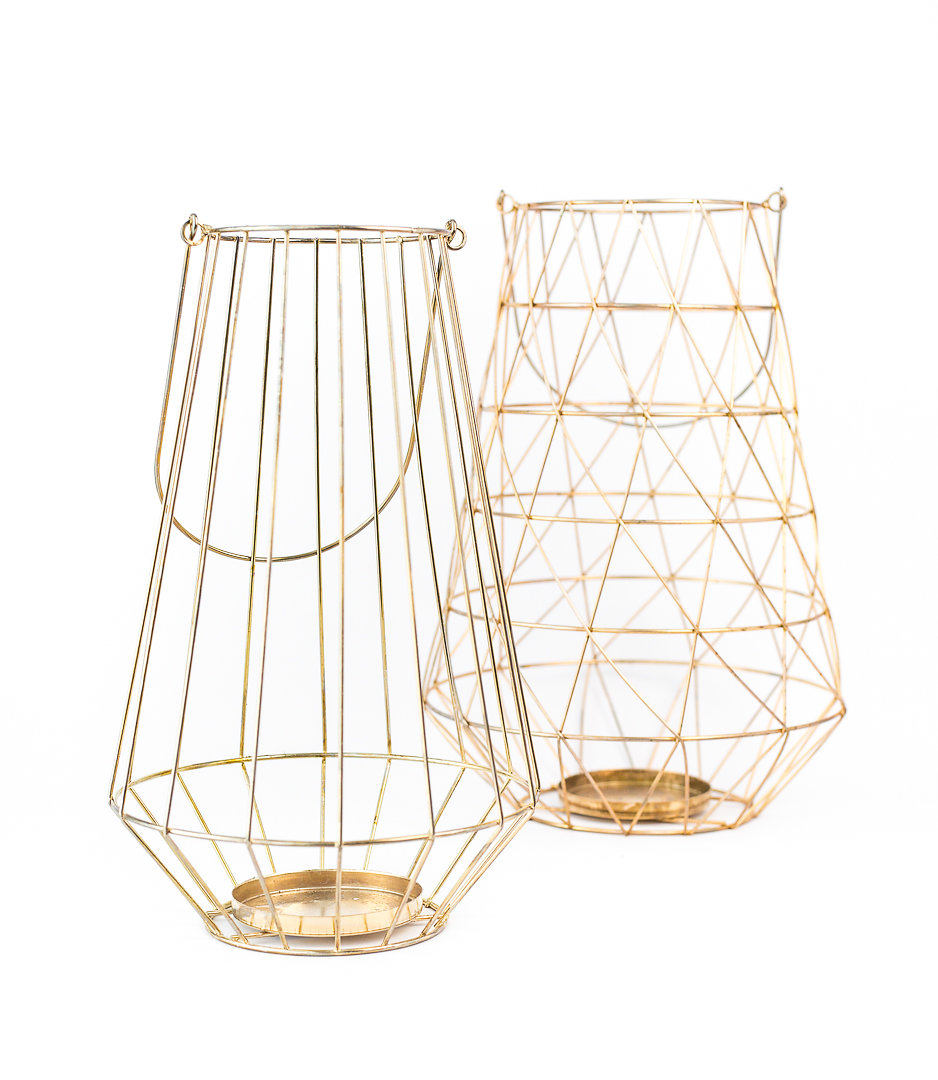 geo gold wire lanterns