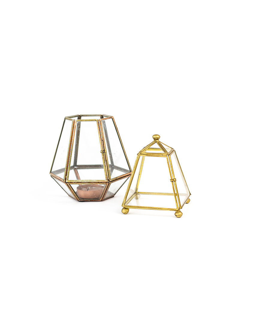 mini gold + glass terrariums