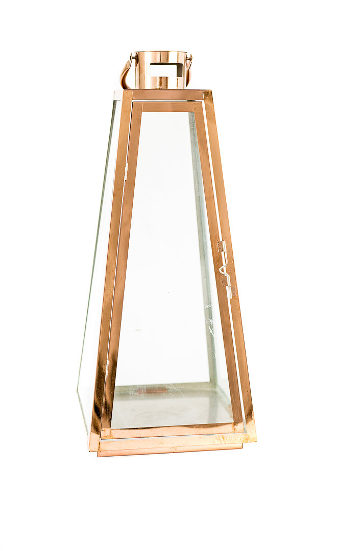 tall copper + glass lantern