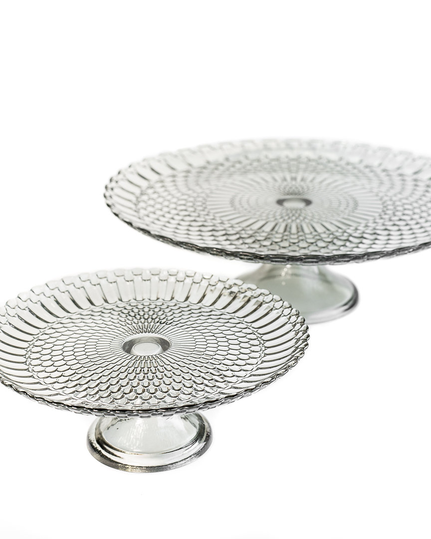 grey smoked glass cake stands