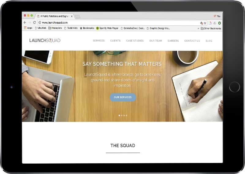 LaunchSquad & Original9 Media - I led the website revamp at LaunchSquad and Original9 Media, serving as project manager for their site redesigns. I worked closely with internal stakeholders, SEO consultants, and designers to arrive at a branded message and site that was optimized to grow LaunchSquad's digital audiences.
