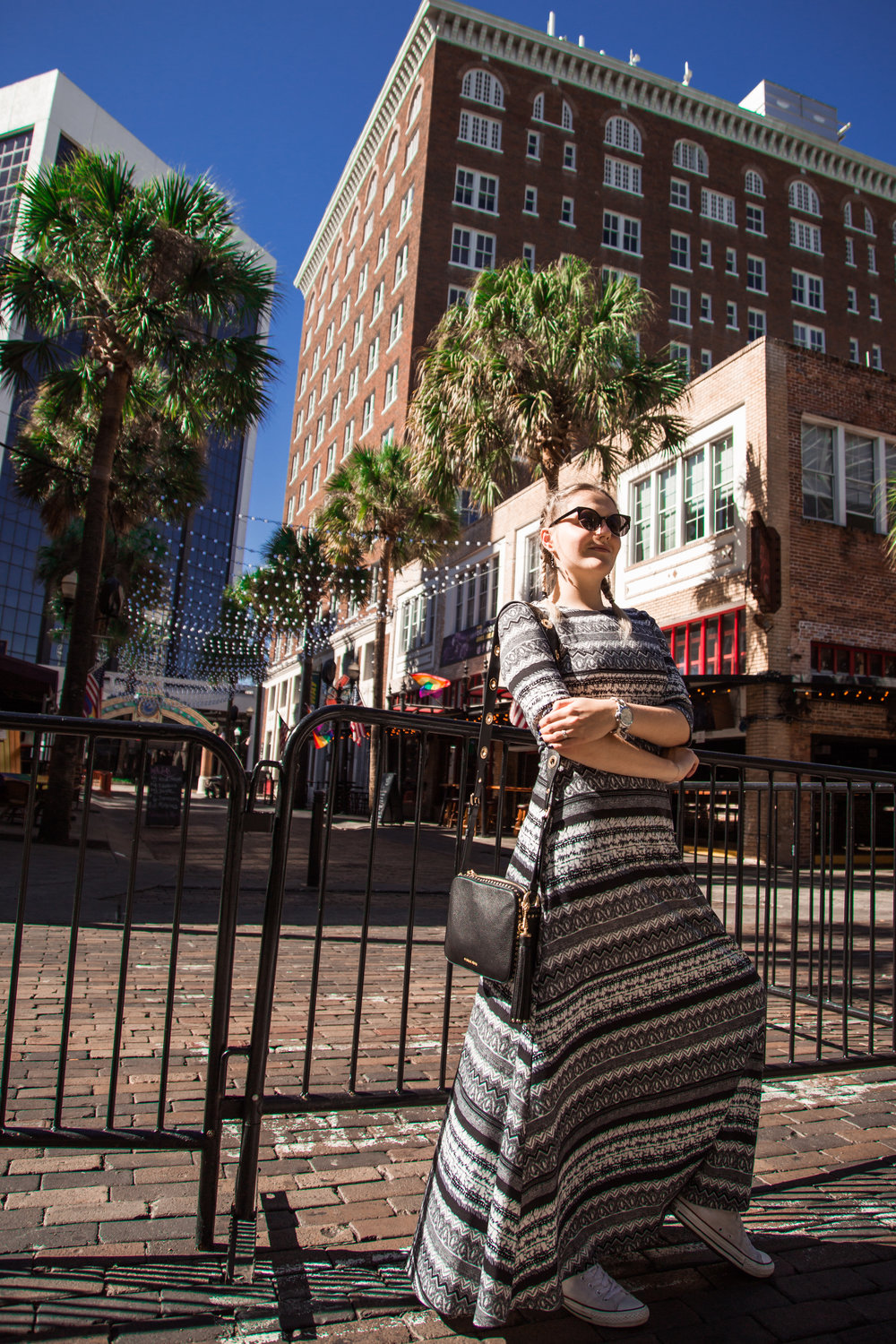 "Me on my birthday day in Orlando, Florida in November 2016. Mr Dorosh was photographing me during all our Downtown walk. I chose flowing cool dress that made me feel ""like a queen"" and Converse shoes that gave me comfort and easy-to-move feeling."