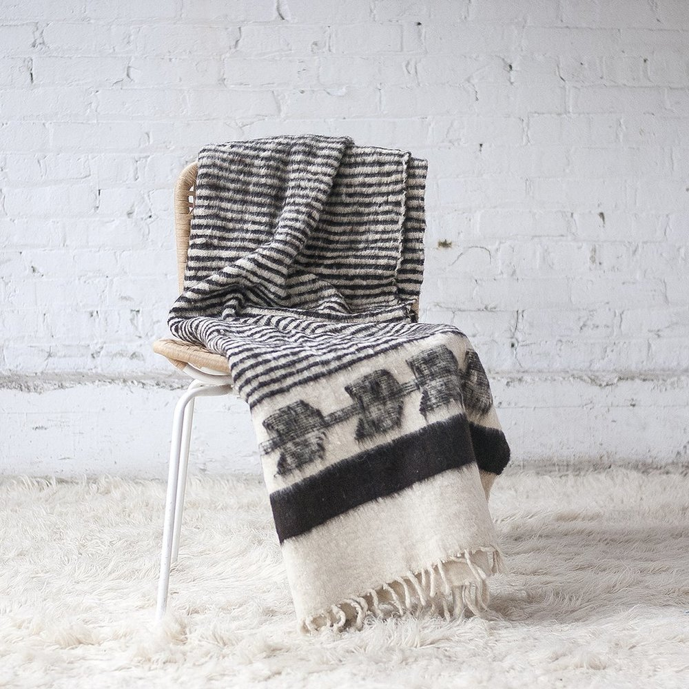 MOMO WOOL BLANKET CHARCOAL