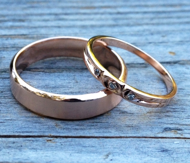 Custom Rose Gold wedding Ring Set